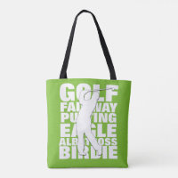 Golfers Golf Terminology Typography Tote Bag