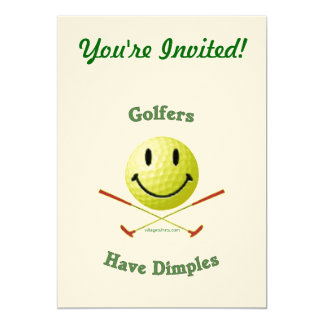 Golfers Have Dimples Smiley 5x7 Paper Invitation Card