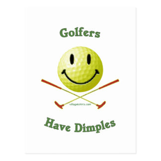 Golfers Have Dimples Smiley Postcard