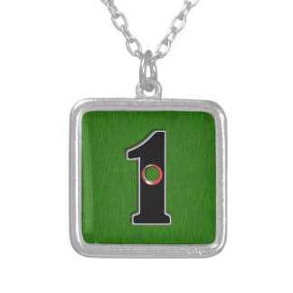 Golfers Hole in One. Luck or Skill? Square Pendant Necklace