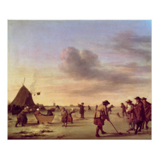 Golfers on the Ice near Haarlem, 1668 Poster