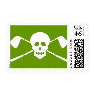 Golfer's Party - Skull & Crossed Clubs! stamp