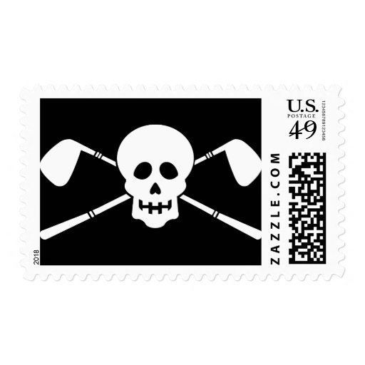 Golfer's Party -Skull & Crossed Clubs! Postage Stamp