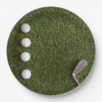 Golfer's Party with golf balls and iron on green Paper Plate