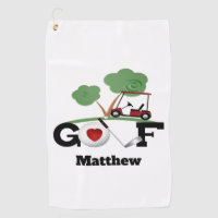 Golfers Personalized Golf Cart Golf Towel