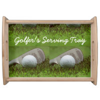 Golfer's Serving Tray with golf ball and iron