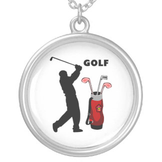 Golfers Silver Plated Necklace