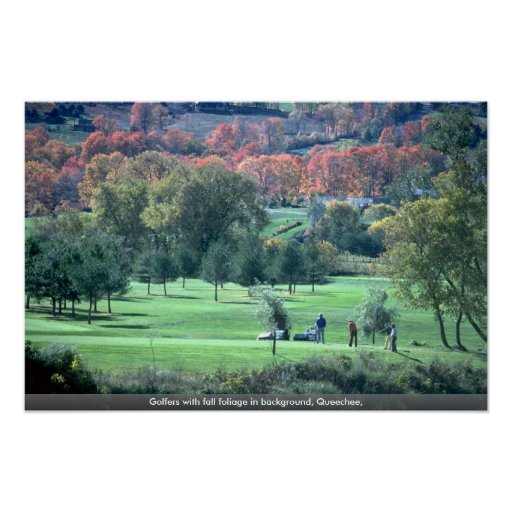 Golfers with fall foliage in background, Queechee, Poster