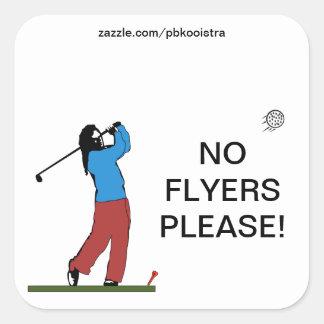 Golff No Flyers Please Sticker