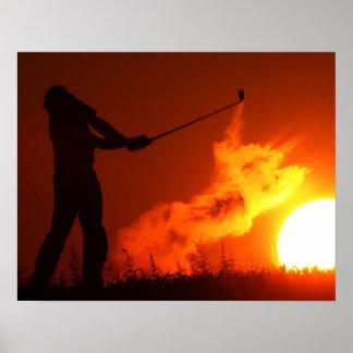 Golfing at Sunset Poster