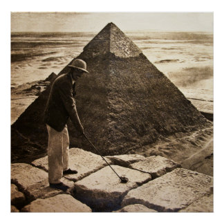 Golfing at the Pyramid Poster