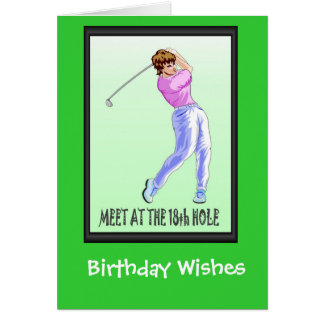 Golfing Birthday cards, Lady player Card