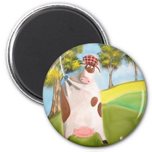 GOLFING COW REFRIGERATOR MAGNET