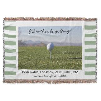Golfing Custom Golf Photo Green Striped Throw Blanket