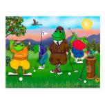 Golfing Frogs - Tournament Postcard