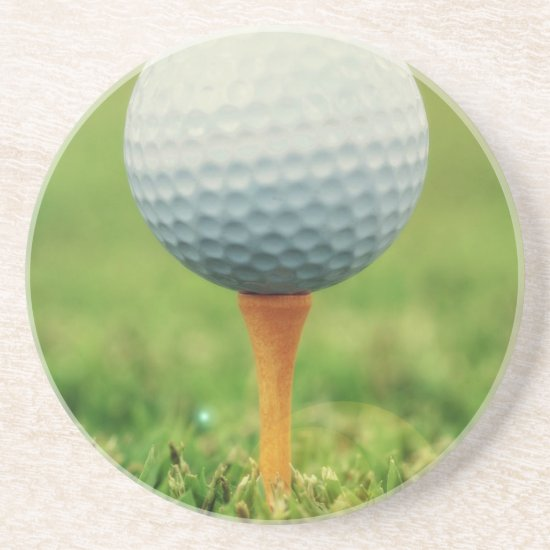 Golfing - Golf Ball on the Tee Drink Coaster