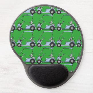 Golfing. Golf car, golf cart. Blue-green Gel Mouse Pad