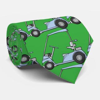 Golfing. Golf car, golf cart. Blue-green Neck Tie
