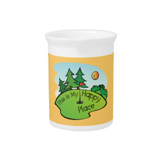 Golfing Golf Course Hole Happy Place Beverage Pitcher