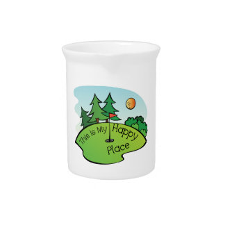 Golfing Golf Course Hole Happy Place Beverage Pitchers