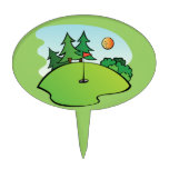 Golfing Golf Course Hole Happy Place Cake Topper