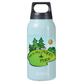 Golfing Golf Course Hole Happy Place Insulated Water Bottle