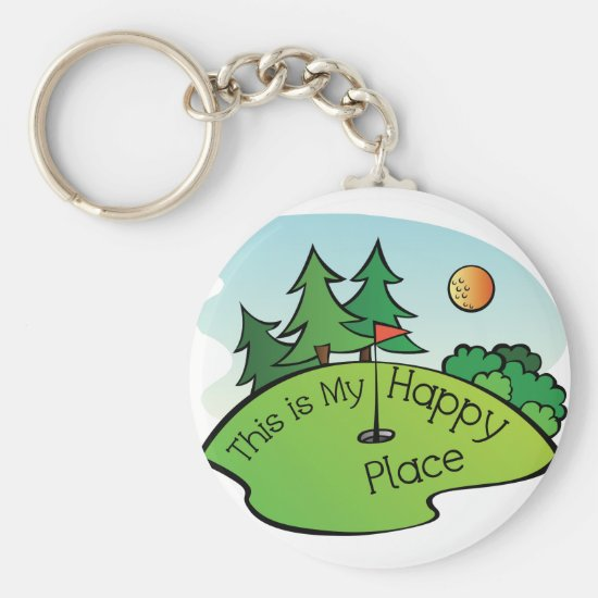 Golfing Golf Course Hole Happy Place Keychain
