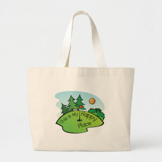 Golfing Golf Course Hole Happy Place Large Tote Bag