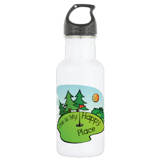 Golfing Golf Course Hole Happy Place Water Bottle