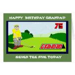 Hand shaped golfing grandad 75th birthday greeting card