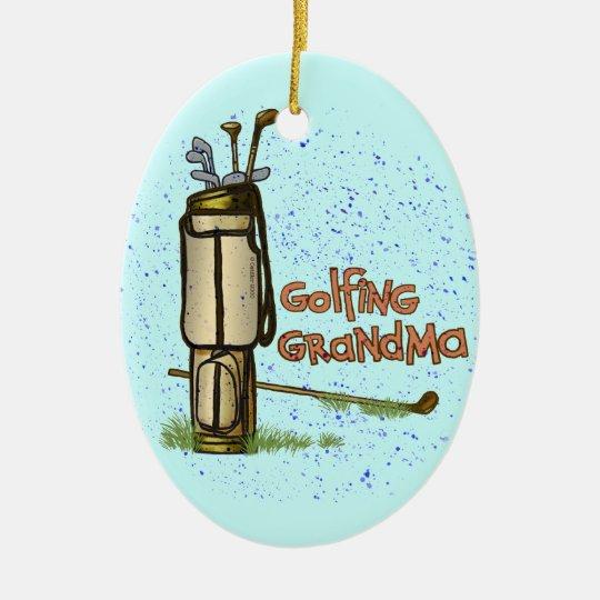 Golfing Grandma Ceramic Ornament