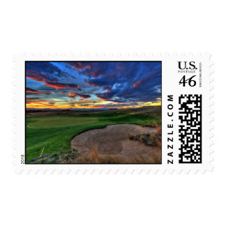 Golfing in the mountains postage stamp