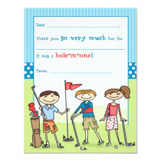 Golfing Kids Fill-in-the-Blank Note Cards