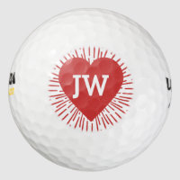 Golfing Love Heart Burst Red Valentine Golf Balls
