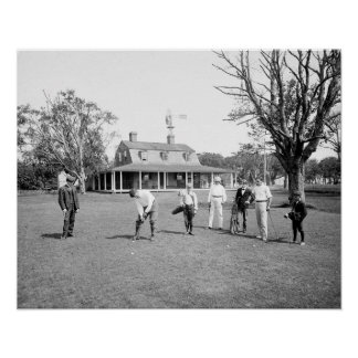 Golfing on Shelter Island, 1904. Vintage Photo Poster