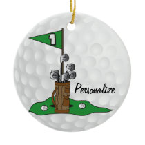 Golfing on the Green | Personalize | Golf Ceramic Ornament