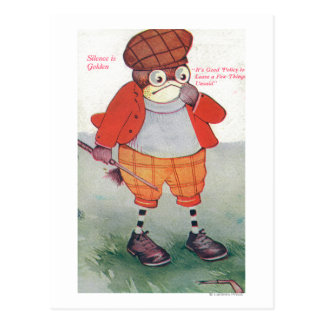 Golfing Owl Noting Silence is Golden Postcard
