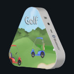 """Golfing Pieladium Speakers<br><div class=""""desc"""">Spice up any party with this Golfing Pieladium Speaker, a portable Bluetooth speaker that delivers undeniably bold sound. Golfing Pieladium Speaker features a golf course background with a sand trap and golf flag, a red golf cart, a blue golf cart both with golf bags. Stylized text is Golf. Perfect gift...</div>"""
