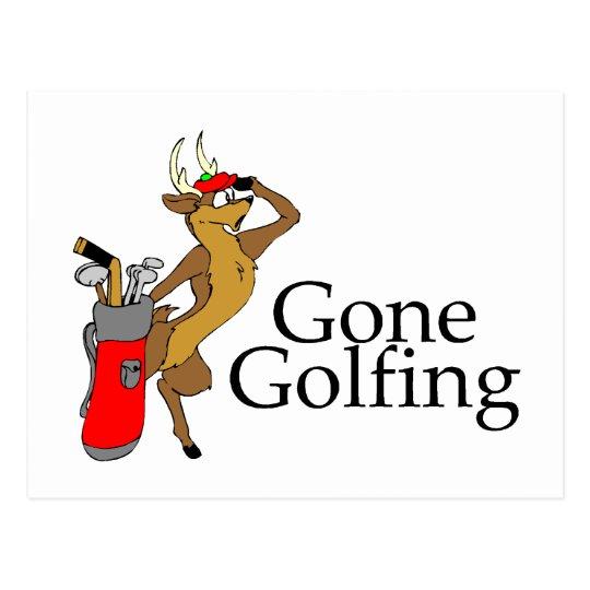 Golfing Reindeer Postcard