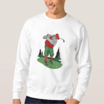 Golfing Santa Claus Embroidered Sweatshirt