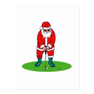 Golfing Santa Post Card