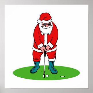 Golfing Santa Poster