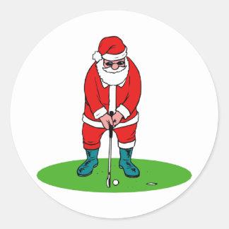 Golfing Santa Stickers