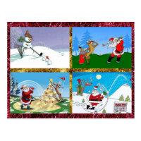 Golfing Santas on a Postcard