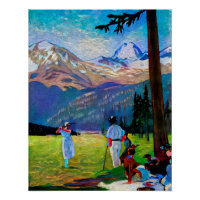 Golfing Scene  - Art On Canvas Print