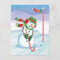 Golfing Snowman Christmas Candy Cane Club Postcard