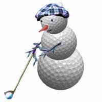 golfing snowman christmas statuette