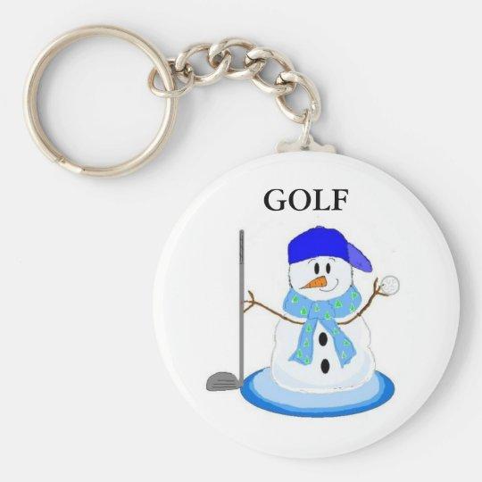 Golfing Snowman Keychain