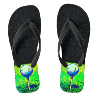 Golfing Sports Diamond Plate Flip Flops