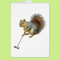 Golfing Squirrel Card